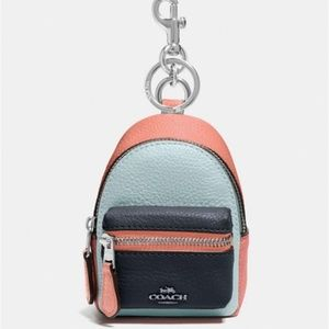Coach Backpack Coin Case Key Chain Leather NWT